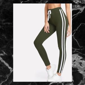 Pants - 🖤GREEN CONTRAST TAPE SIDE LEGGINGS SZ L🖤